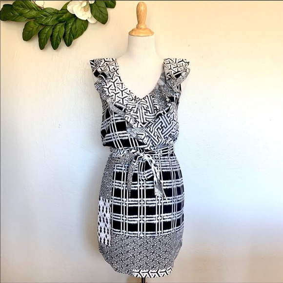 Jessica Simpson Ruffle Trim Belted Blouson Dress